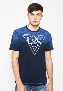 Kaos Fashion - Aksen Biru - Motif - Gambar Sablon - Navy