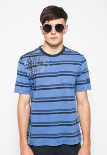 Kaos Fashion - Color Block - Motif Garis - Biru