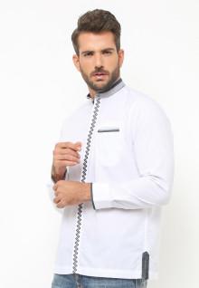 LGS - Baju Koko - Lengan Panjang - Motif Zigzag - Putih