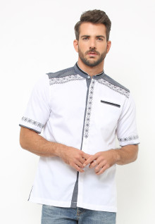 LGS - Baju Koko - Lengan Pendek - Motif Placket - Putih
