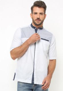 LGS - Baju Koko - Lengan Pendek - Bordir Abu - Putih
