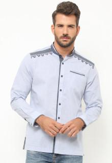 LGS - Baju Koko - Lengan Panjang - Motif Bordir - Abu