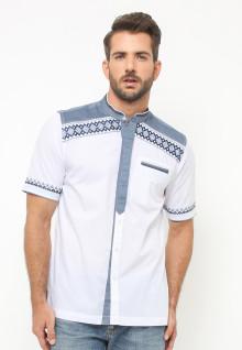 LGS - Baju Koko - Lengan Pendek - Motif Bordir - Aksen Warna - Putih