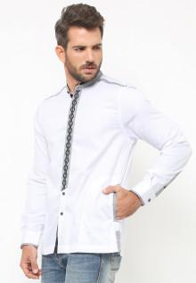 LGS - Baju Koko - Lengan Panjang - Bordir - Aksen Garis Abu - Putih
