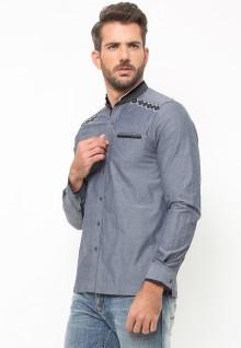 LGS - Baju Koko - Lengan Panjang - Bordir Hitam - Satu Kantong - Abu