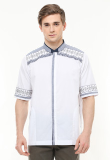 Regular Fit - Baju Koko - Motif Placket - Bordir - Putih