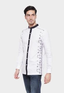 Johnwin - Baju Koko - Lengan Panjang - Aksen Ring - Putih