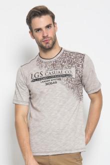 Regular Fit - Kaos Casual - Motif Sablon - Abu - Coklat