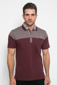 Regular Fit - Polo Casual - Color Block - Kontras Warna - Merah