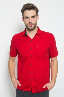 Regular Fit - Kemeja Casual - Motif Polos - Merah