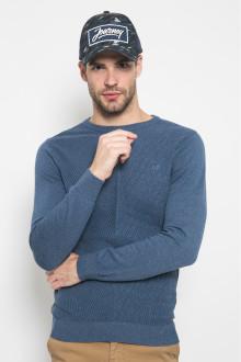 Sweater Casual - Tekstur Salur - Biru