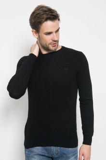 Sweater Casual - Tekstur Salur - Hitam