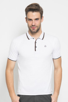 Slim Fit - Polo Active - Stripe Kerah - Putih