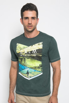 Slim Fit - Kaos Casual - Calm Wild Nature - Hijau