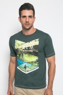 Slim Fit - Kaos Casual Active - Calm Wild Nature - Hijau