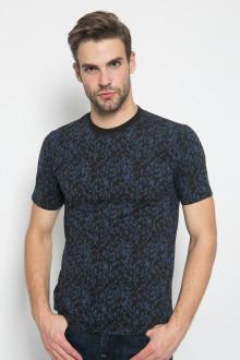 Slim Fit - Kaos Casual Active - Motif Loreng Biru - Hitam