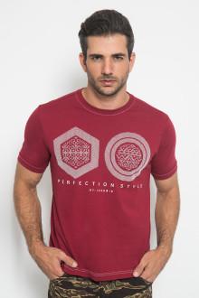 Slim Fit - Kaos Casual Active - Segienam Lingkaran - Maroon