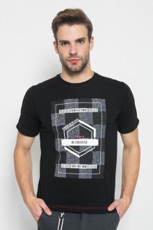 Slim Fit - Kaos Casual Active - Motif Batik - Hitam