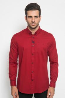 Slim Fit - Kemeja Casual Active - Stripe - Merah