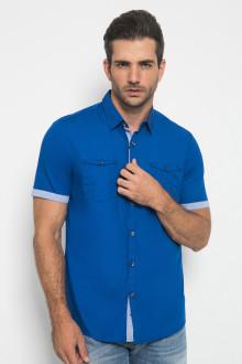 Slim Fit - Kemeja Casual - Stripe Polkadot - Biru