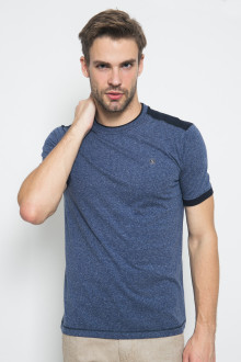 Slim Fit - Kaos Fashion - Aksen Hitam - Biru