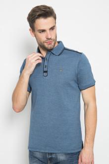 Slim Fit - Polo Shirt - Rubber Cuff - Logo LGS - Biru