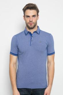 Slim Fit - Polo Shirt - Tekstur - Aksen Ring Lengan - Biru