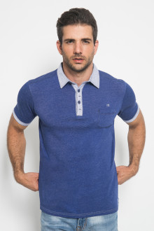 Slim Fit - Polo Shirt - Kerah Kontras Warna - Biru