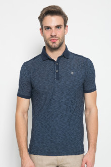 Slim Fit - Polo Shirt - Rubber Cuff - 3 Kancing Placket - Navy