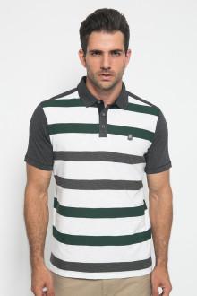 Slim Fit - Polo Shirt - Motif Garis - Putih