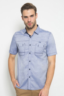 Slim Fit - Kemeja Fashion - Motif Polos - Biru