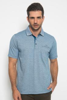 Regular Fit - Kaos Casual - Motif Kotak - Biru