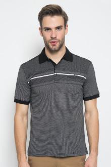 Regular Fit - Kaos Casual - Motif Garis Putih - Hitam