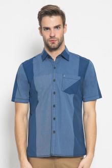Regular Fit - Kemeja Casual - Motif Two Colour  - Biru