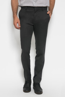 Slim Fit - Formal Pants - Polyester 928 - Tekstur Serat - Hitam