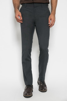Slim Fit - Formal Pants - Polyester 911 - Tekstur Serat - Abu