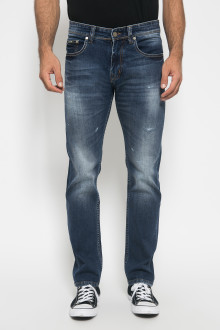 Jeans Slim Fit - Destroy Jeans - Aksen Whisker - Biru