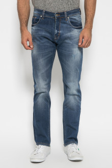 Jeans Slim Fit - Destroy Design - Aksen Whisker - Biru
