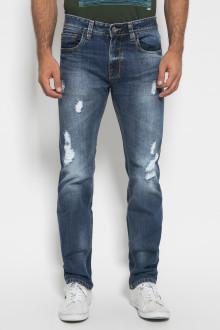Slim Fit - Celana Jeans Panjang - Ripped - Biru