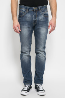Slim Fit - Celana Jeans Panjang - Aksen Washed - Biru