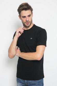 Slim Fit - Kaos Tekstur Garis - Hitam