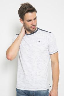 Slim Fit - Kaos Aksen Ring - Bahan Corak - Putih