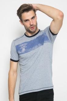 Slim Fit - Kaos Fashion - Ring Hitam - Gambar Sablon - Abu
