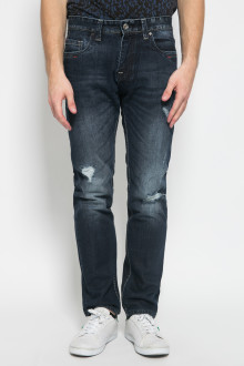 Slim Fit - Celana Jeans Panjang - Ripped - Dark Blue