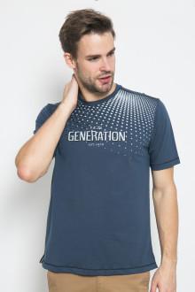 Regular Fit - Kaos Casual - Gambar Sablon - Biru