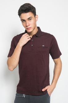 Regular Fit - Kaos Casual - Motif Garis - Maroon