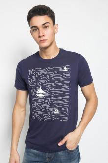 Slim Fit - Kaos Youth Boy - Motif Sablon BOAT - Navy