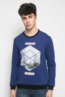 Slim Fit - Kaos Casual Active - Sablon Hexagon - Biru