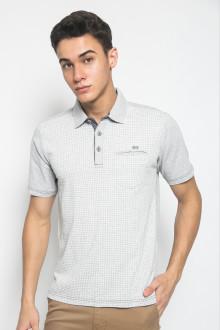 Regular Fit - Kaos Casual - Motif Kotak - Putih