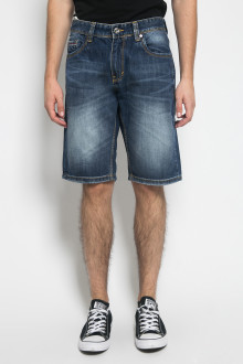 Slim Fit - Jeans Bermuda - Aksen Washed - Whisker -Dark Blue